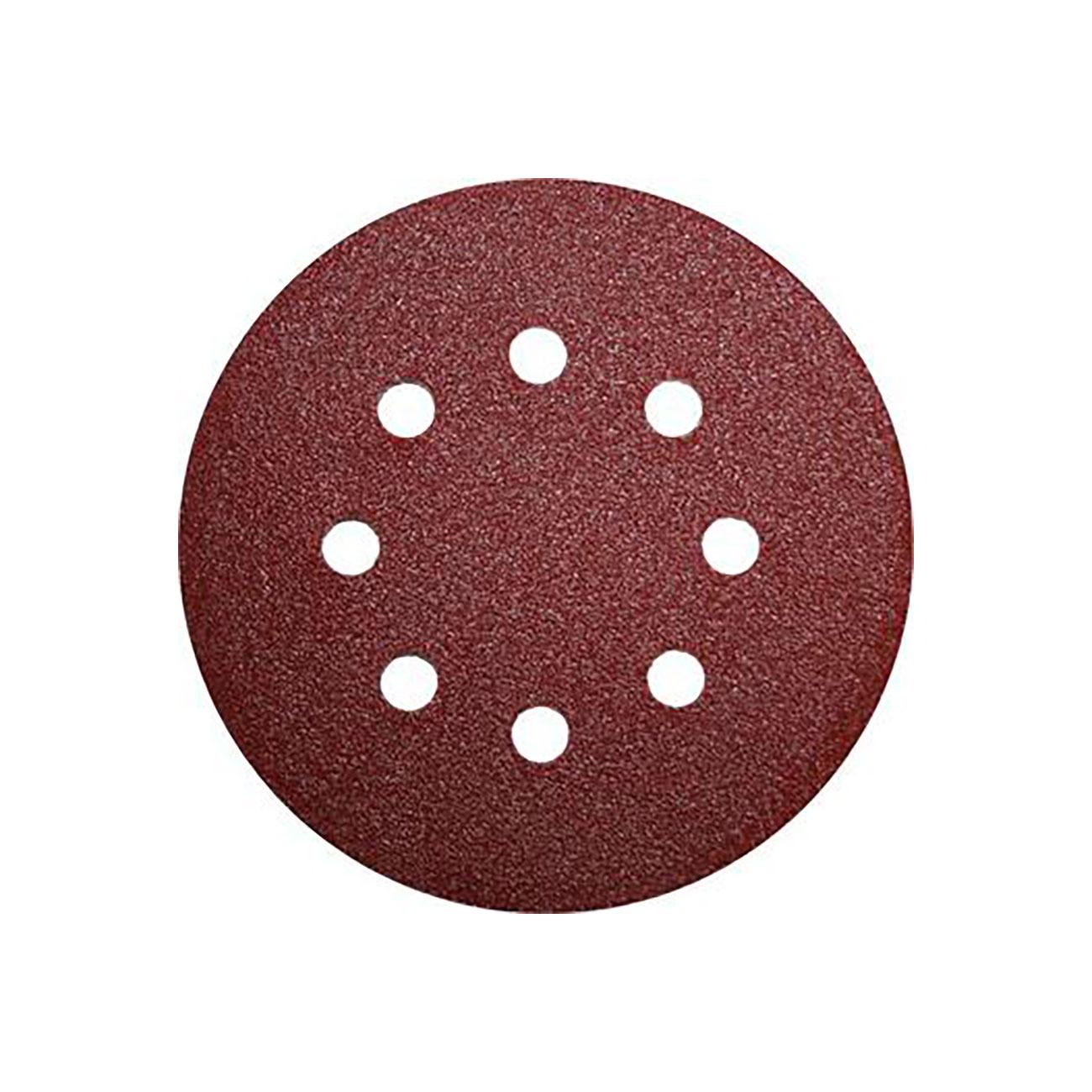 Фото Шлифовальные круги Практика Профи, на липкой основе, Р80, для металла и дерева, 8 отверстий, 125 мм (5 шт) {031-495}