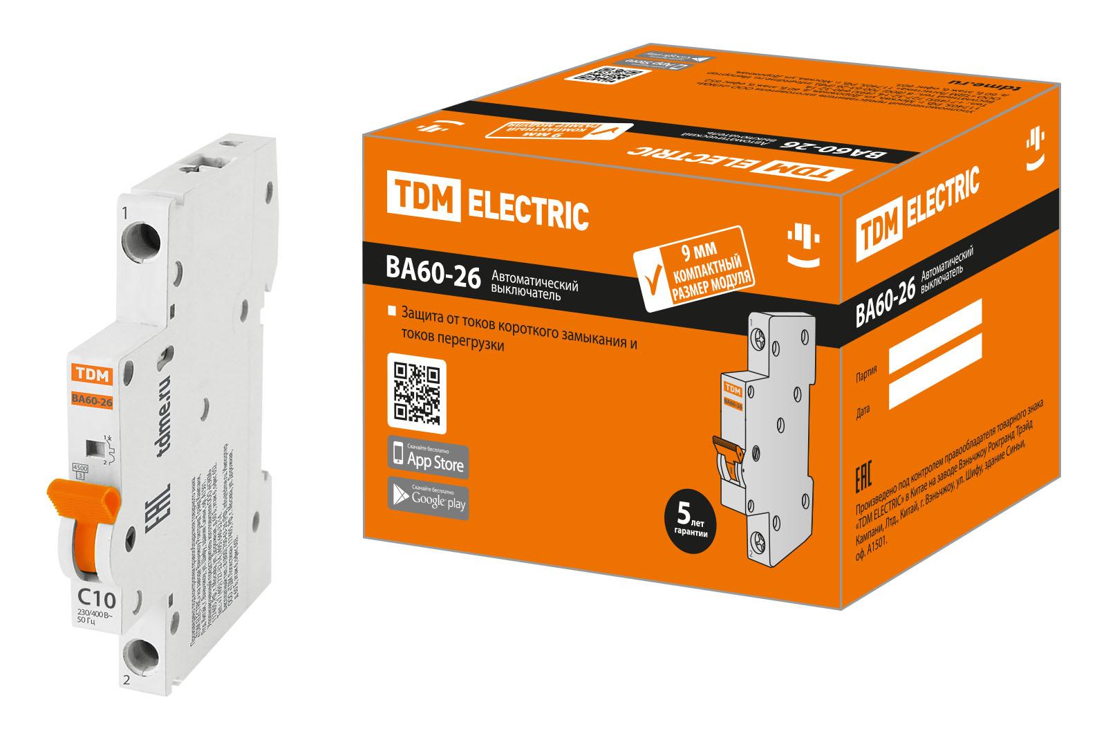 Фото Автоматический выключатель ВА60-26-14 1P 10А 4,5кА х-ка С компакт TDM {SQ0206-0602}