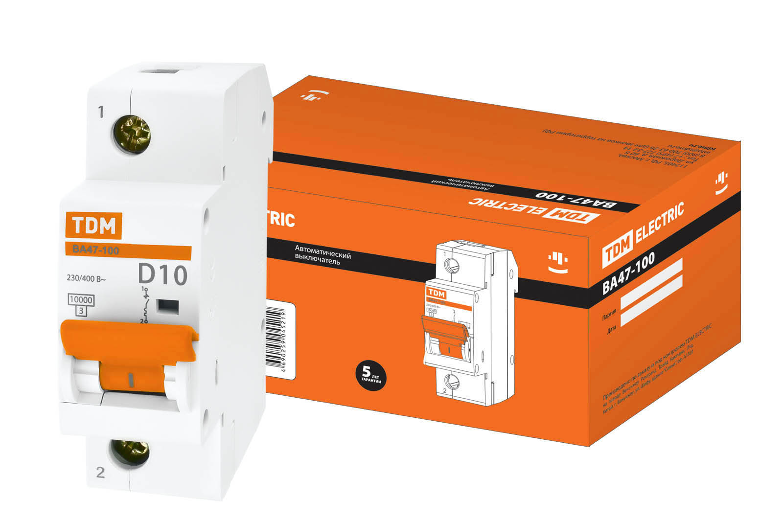 Фото Автоматический выключатель ВА47-100 1P 10А 10кА х-ка D TDM {SQ0207-0001}