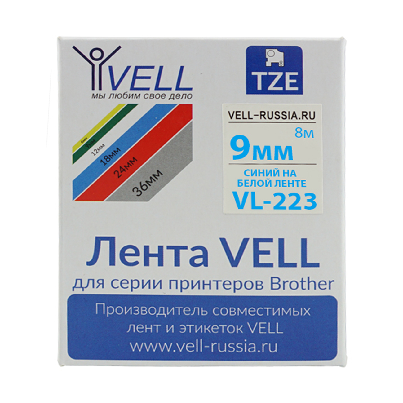 Фото Лента Vell VL-223 (9 мм, синий на белом) для PT 1010/1280/D200/H105/E100/ D600/E300/2700/ P700/E550/9700 {Vell223}