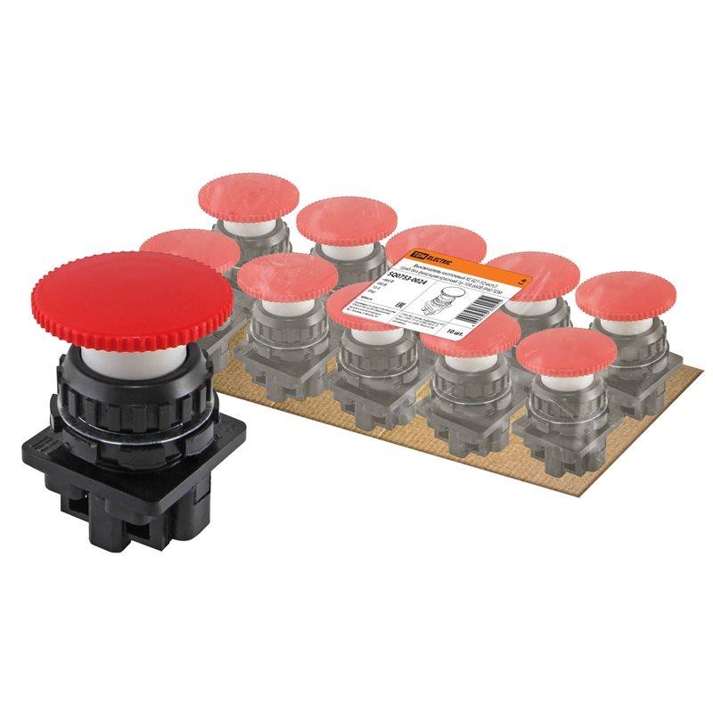 Фото Выключатель кнопочный КЕ 021-У2-исп.5 гриб без фиксации красный 1р 10A 660B IP40 TDM {SQ0753-0024} (1)
