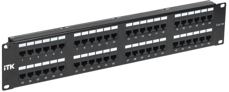 Фото Патч-панель 2U кат.5е UTP 48 портов (Dual) ITK PP48-2UC5EU-D05