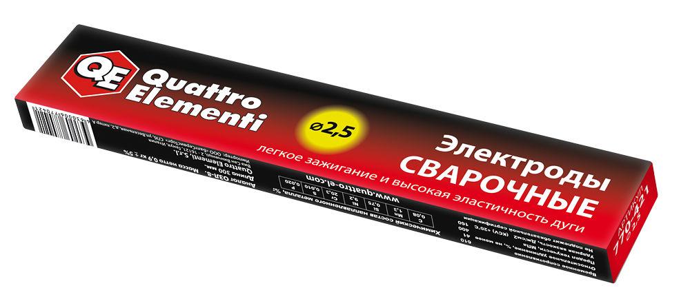 Фото Электроды сварочные Quattro Elementi рутиловые, 2.5 мм, масса 0.9 кг {770-421} (1)