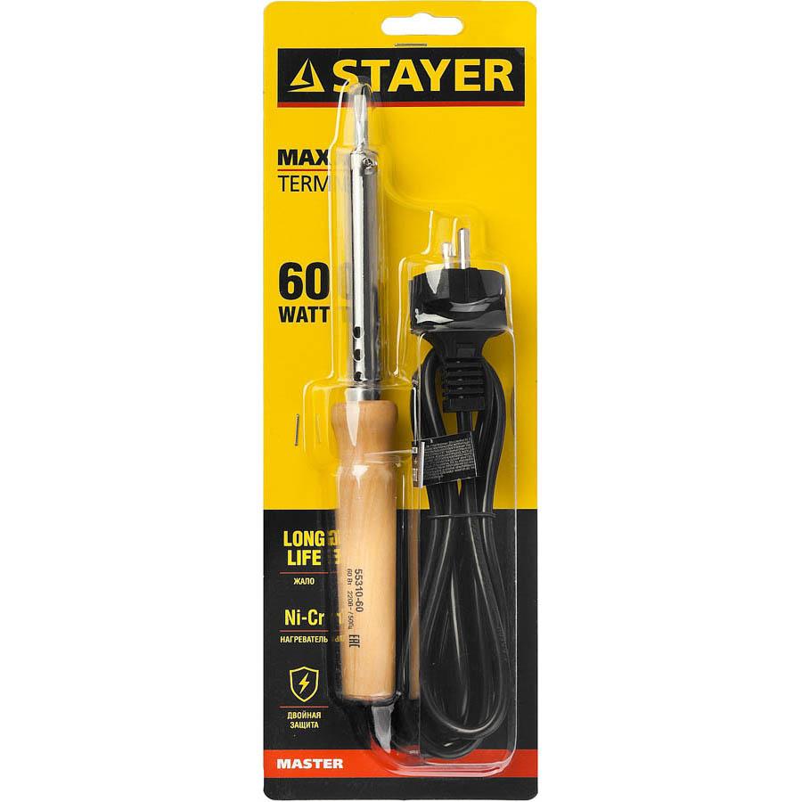 """Фото Паяльник с деревянной рукояткой и долговечным жалом, STAYER """"MASTER"""" MAXTerm, 55310-60, 60 Вт, клин (2)"""
