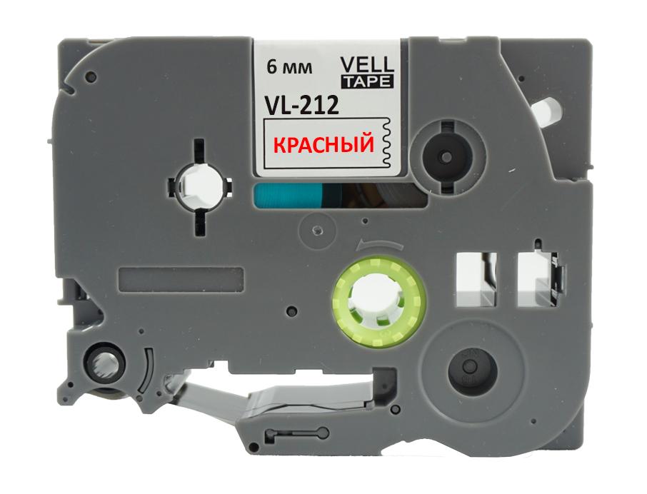 Фото Лента Vell VL-212 (Brother TZE-212, 6 мм, красный на белом) для PT 1010/1280/D200/H105/E100/ D600/E300/2700/ P700/E550/9700 {Vell212} (1)
