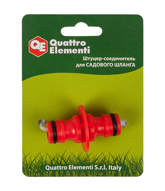 Фото Штуцер для шланга Quattro Elementi соединитель БРС папа - БРС папа, пластик {645-921}