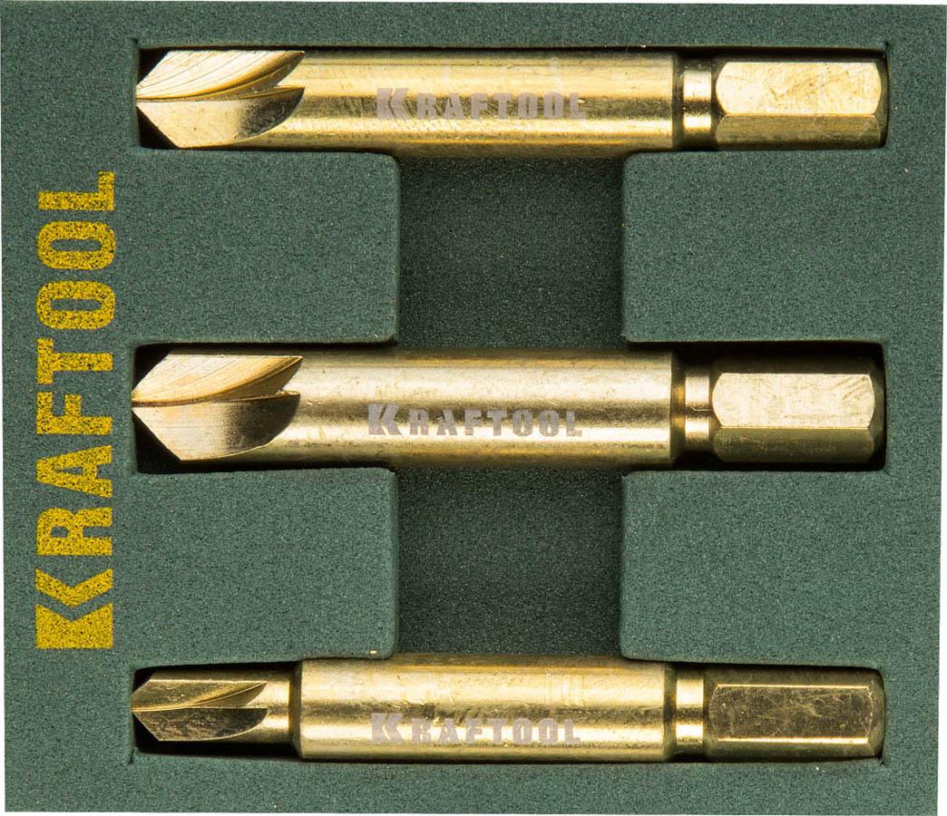 Фото Набор экстракторов KRAFTOOL для выкручивания крепежа с износом граней шлица до 95%.PH1/PZ1,PH2/PZ2,PH3/PZ3,3 предмета {26770-H3}