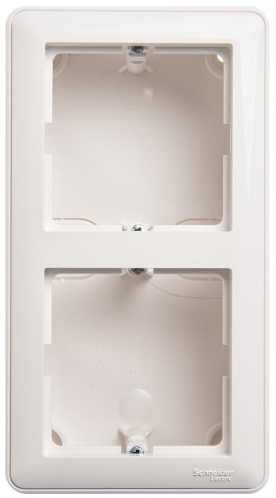 Фото W59 коробка подъемная для наружного монтажа с рамкой 2-местная, белый {KP-252-18}