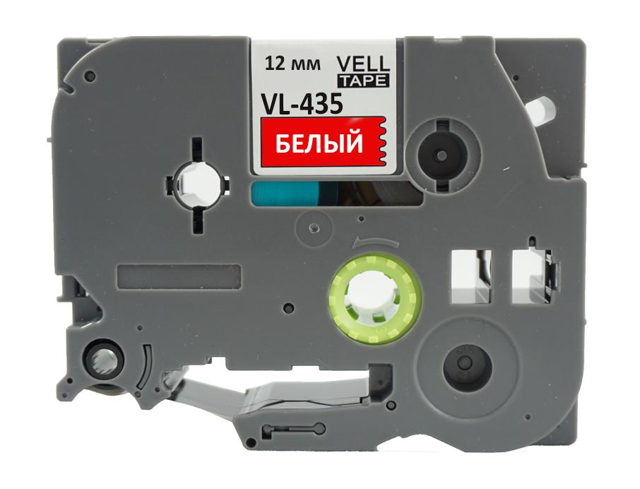 Фото Лента Vell VL-435 (Brother TZE-435, 12 мм, белый на красном) для PT 1010/1280/D200/H105/E100/ D600/E300/2700/ P700/E550/9700 {Vell435} (1)
