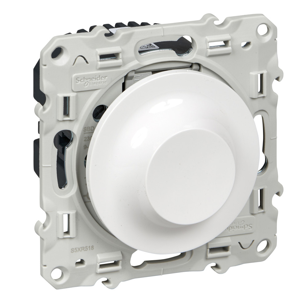 Фото ODACE светорегулятор поворотно-нажимной, 9-100 ва, белый {S52R518}