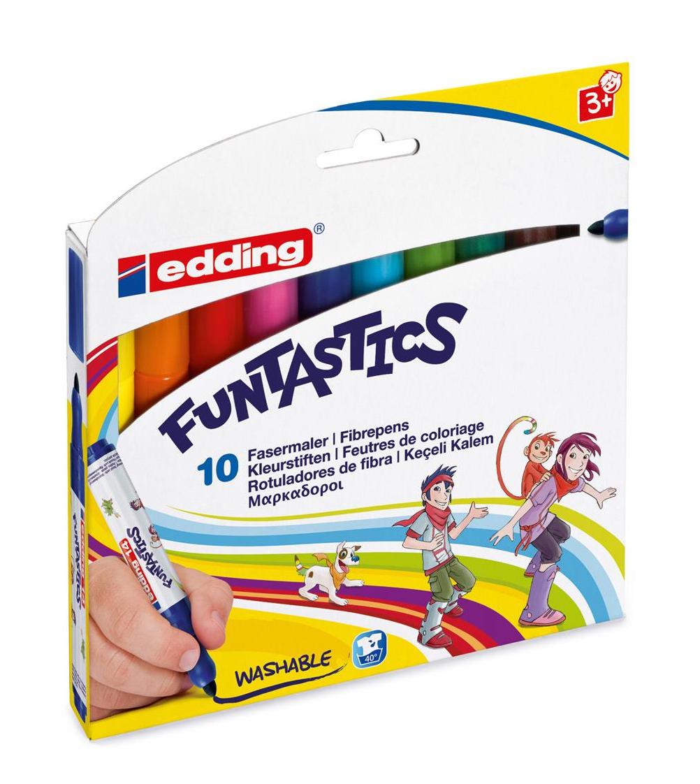 Фото Набор маркеров для рисования Edding FUNTASTICS, 3 мм, 10 цветов, картонная коробка {E-14#10S}