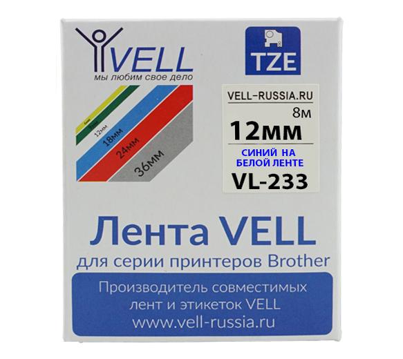 Фото Лента Vell VL-233 (Brother TZE-233, 12 мм, синий на белом) для PT 1010/1280/D200/H105/E100/ D600/E300/2700/ P700/E550/9700 {Vell233}