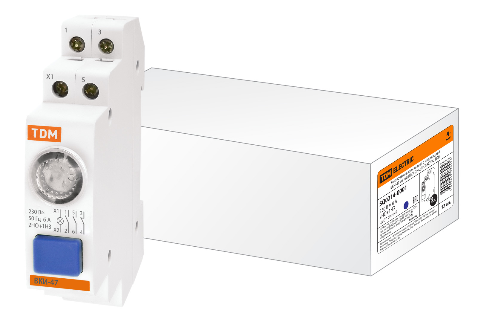 Фото Выключатель кнопочный с индикацией ВКИ-47 зеленый (LED) 2НО;1НЗ AC/DC TDM {SQ0214-0003}
