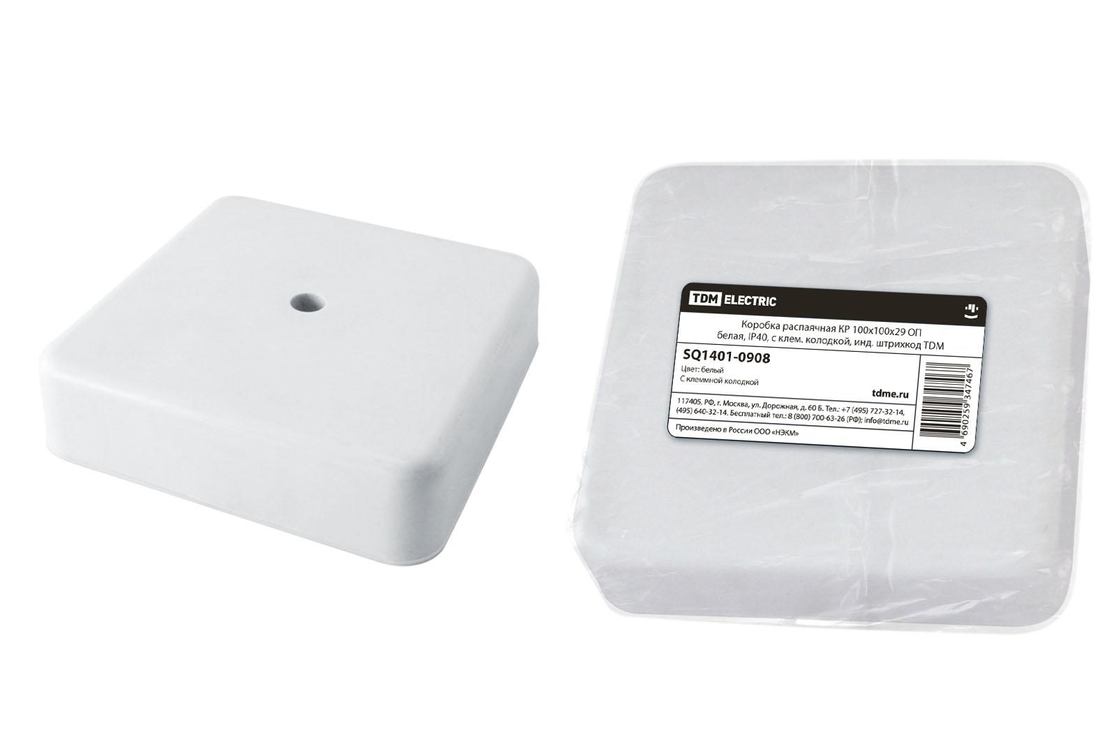 Фото Коробка распаячная КР 100х100х29 ОП белая, IP40, с клем. колодкой, инд. штрихкод TDM {SQ1401-0908}