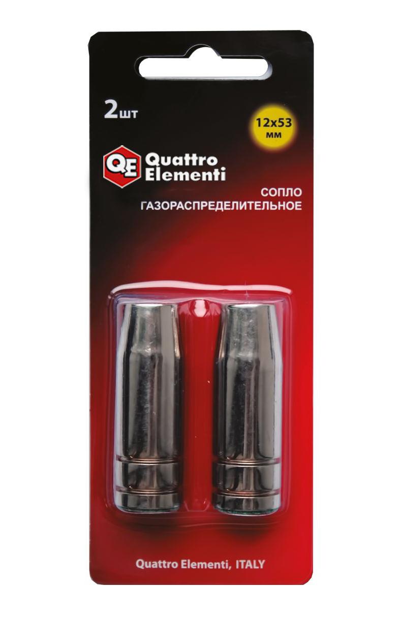 Фото Сопло газораспределительное Quattro Elementi 12 x 53 мм для горелок полуавтоматов (2 шт.) {771-190}