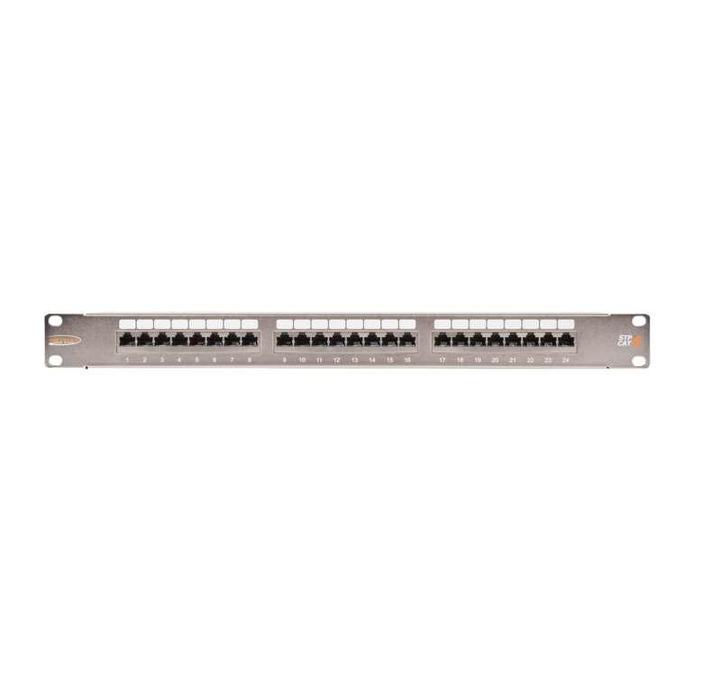 Фото Патч-панель 19дюйм 1U 24 порта кат.6 (класс E) 250МГц RJ45/8P8C 110/KRONE T568A/B полный экран с органайзером метал. NIKOMAX NMC-RP24SE2-1U-MT (1)
