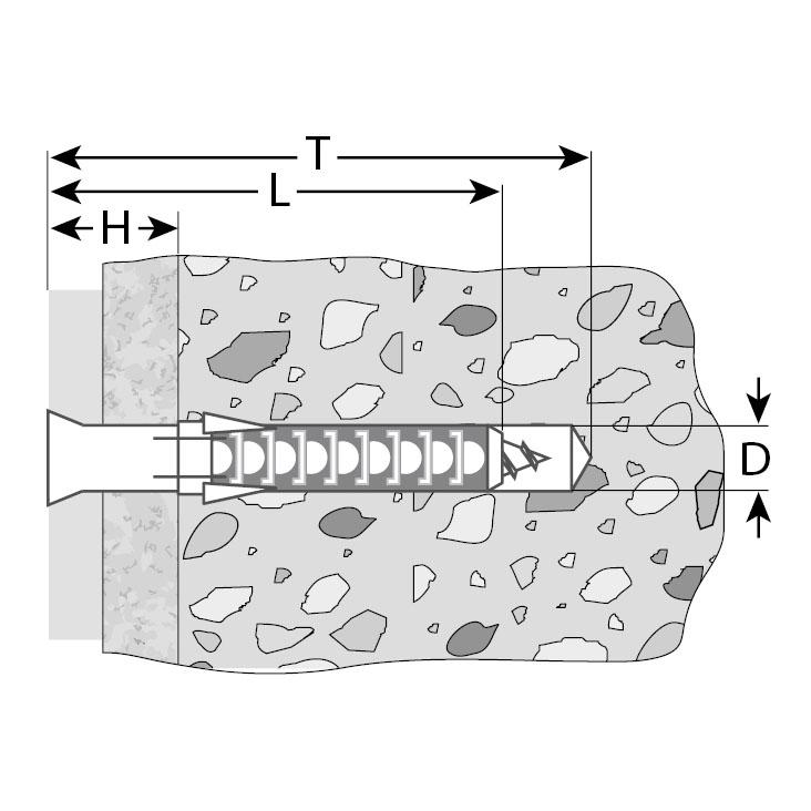 Фото Дюбель рамный нейлоновый, в комплекте с оцинкованным шурупом, шлиц Pz, 10 x 100 мм, 50 шт, ЗУБР Профессионал {4-301455-10-100} (1)