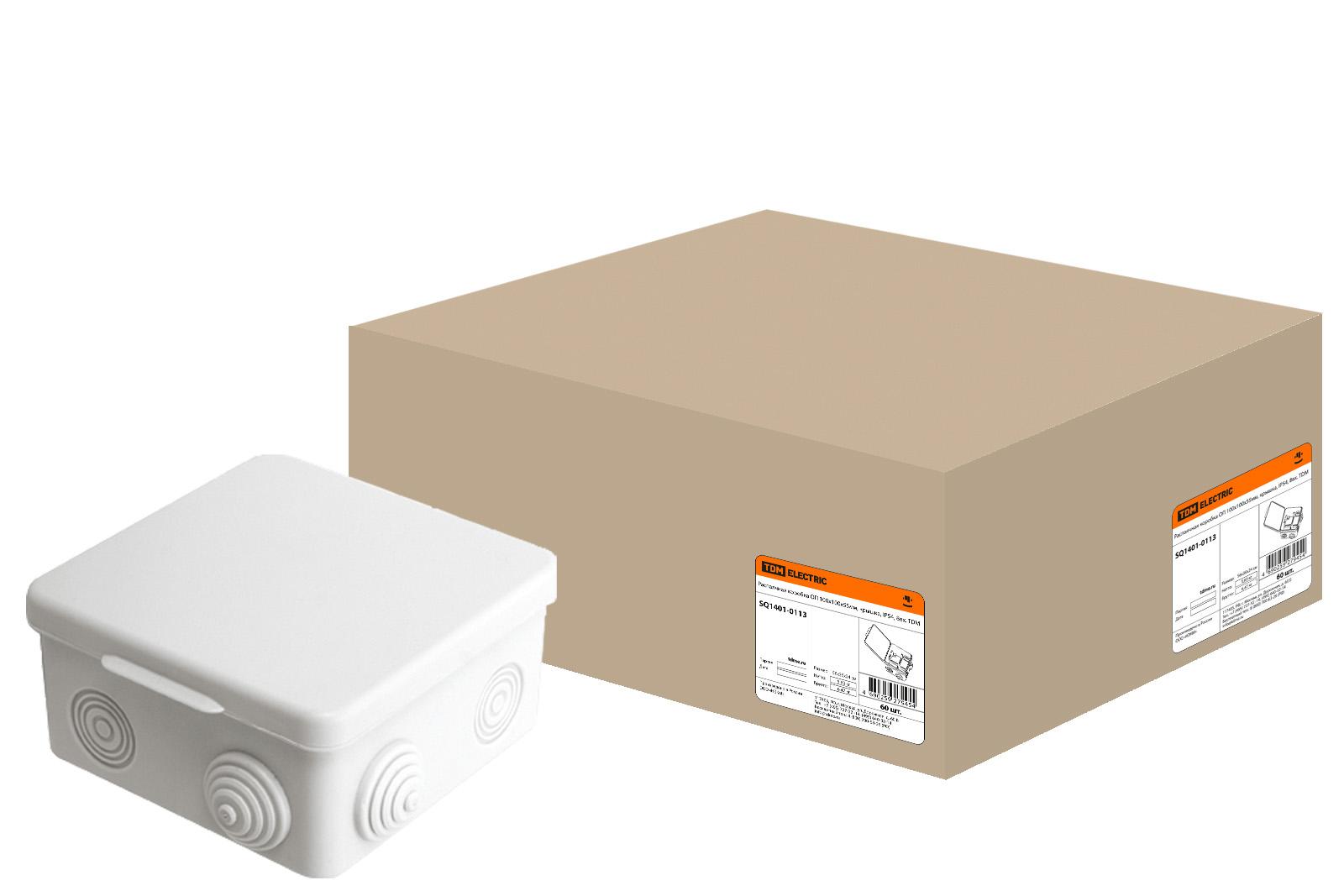 Фото Распаячная коробка ОП 100х100х55мм, крышка, IP54, 8вх. TDM {SQ1401-0113}