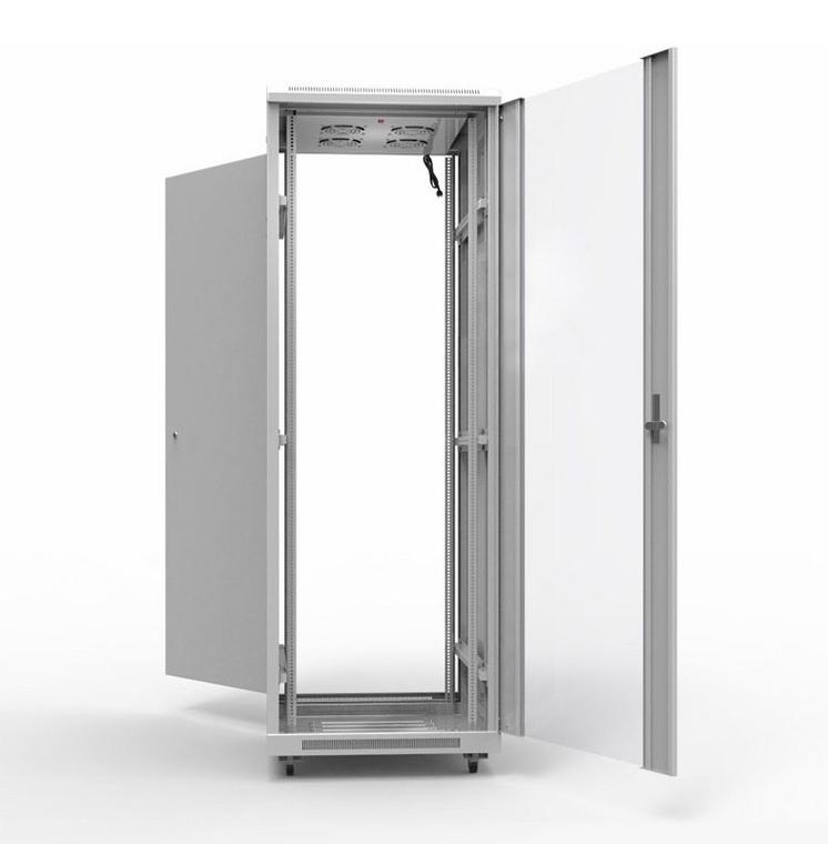 """Фото 19"""" Напольный шкаф Rexant серии Standart 42U 600х1000 мм, передняя дверь стекло, задняя дверь металл, RAL 7035 {04-2307} (1)"""