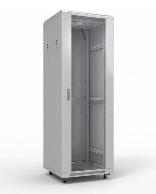 """Фото 19"""" Напольный шкаф Rexant серии Standart 42U 600х1000 мм, передняя дверь стекло, задняя дверь металл, RAL 7035 {04-2307} (2)"""