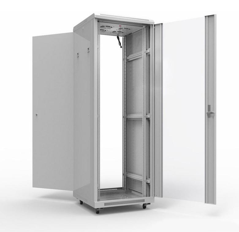 """Фото 19"""" Напольный шкаф Rexant серии Standart 42U 600х1000 мм, передняя дверь стекло, задняя дверь металл, RAL 7035 {04-2307} (3)"""