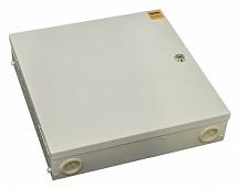 Фото Бокс оптический FO-WBX-4хSLT-W140H42-32UN-GY универс. настенный от 8 до 32 портов (SC duplex LC ST FC) (со спайс. пласт. без пигтейлов. и прох. адапт.