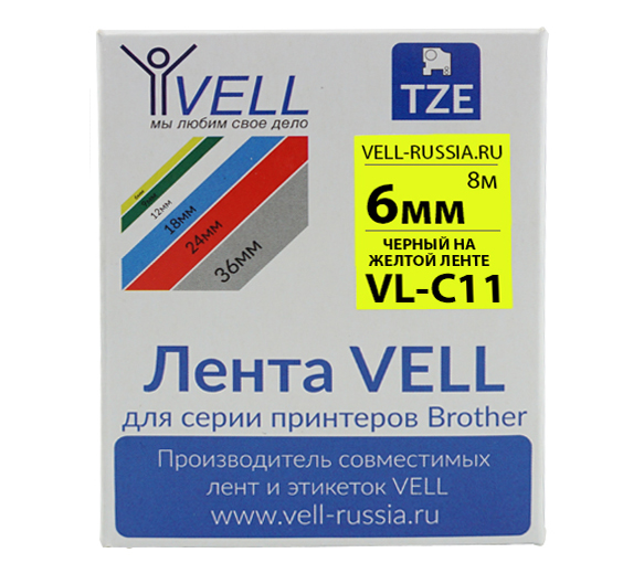 Фото Лента Vell VL-C11 (Brother TZE-C11, 6 мм, черный на желтом) для PT 1010/1280/D200/H105/E100/ D600/E300/2700/ P700/E550/9700 {Vellc11}