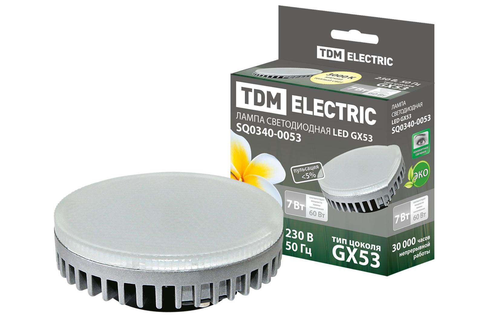 Фото Лампа светодиодная GX53-7 Вт-3000 К TDM {SQ0340-0053}