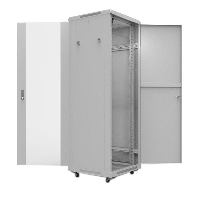 """Фото 19"""" Напольный шкаф Rexant серии Standart 42U 600х800 мм, передняя дверь стекло, задняя дверь металл, RAL 7035 {04-2306} (1)"""