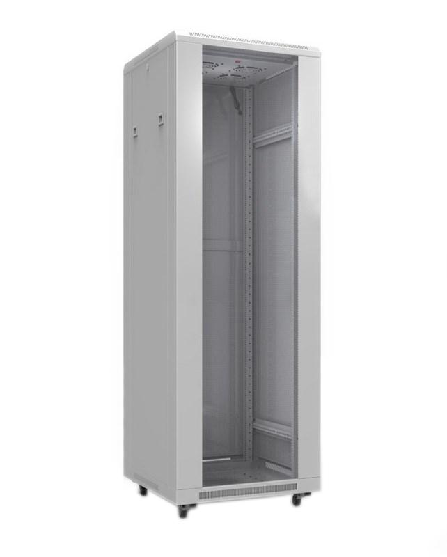 """Фото 19"""" Напольный шкаф Rexant серии Standart 42U 600х800 мм, передняя дверь стекло, задняя дверь металл, RAL 7035 {04-2306}"""