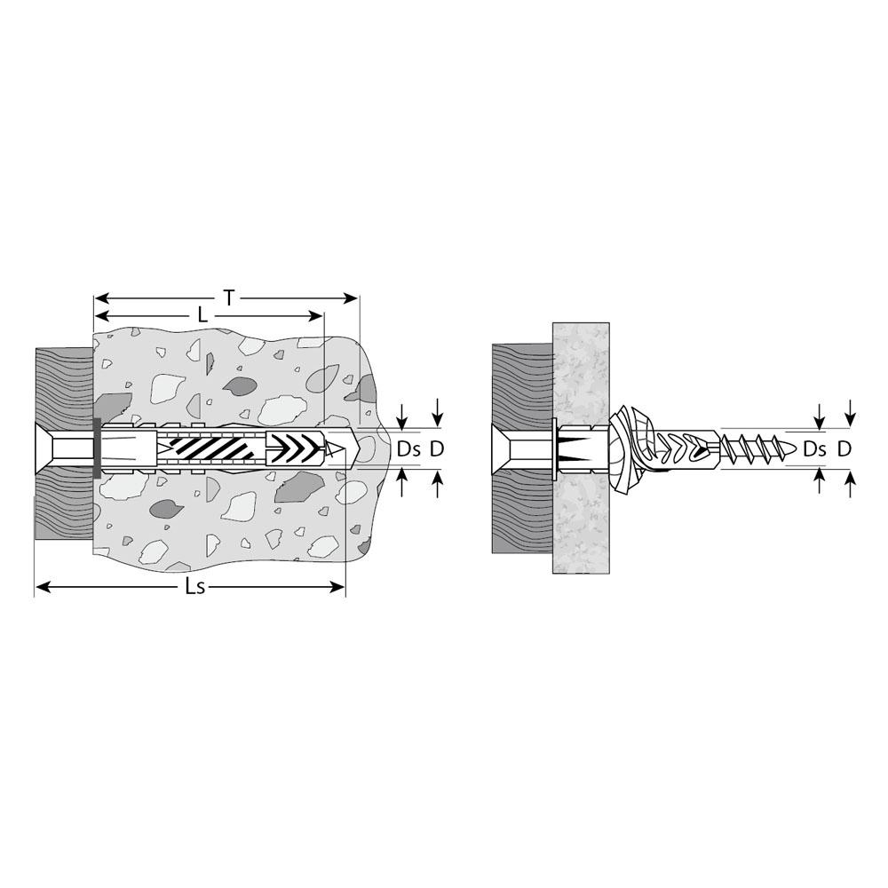 Фото Дюбель универсальный полипропиленовый, без бортика, в комплекте с оцинкованным шурупом, 8 х 52 мм, 6 шт, ЗУБР {4-301196-08-052} (1)