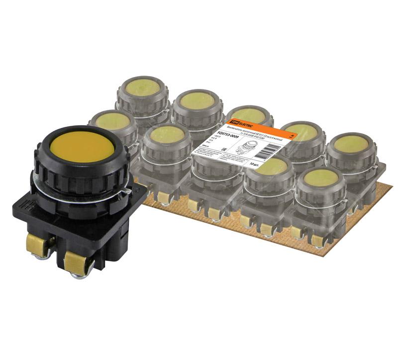 Фото Выключатель кнопочный КЕ 011-У2-исп.4 желтый 1з 10A 660B IP40 TDM {SQ0753-0009} (1)