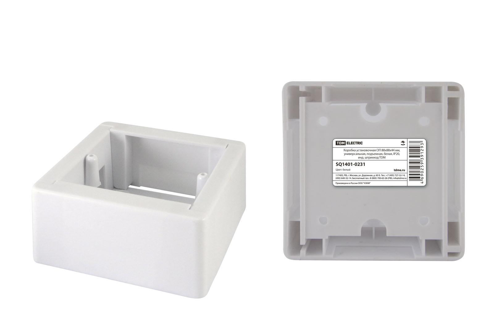 Фото Коробка установочная ОП 88х88х44 мм, универсальная, подъемная, белая, IP20, инд. штрихкод TDM {SQ1401-0231}
