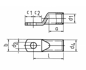 Фото Наконечник ТМЛ облегченный стандарт Klauke с узкой контактной площадкой, сечение 50 мм² под болт М10, с контрольным отверстием {klk6SG10MS} (1)