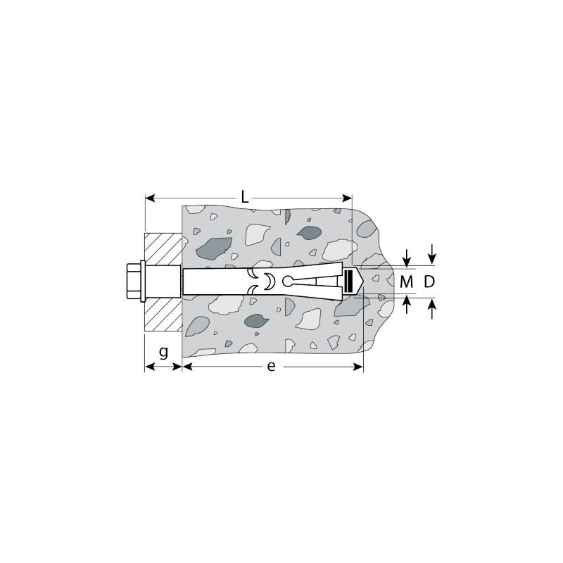 Фото Болт анкерный с пластиковым кольцом, 16х110 мм, 1 шт, желтопассивированный, ЗУБР {4-302316-16-110} (1)