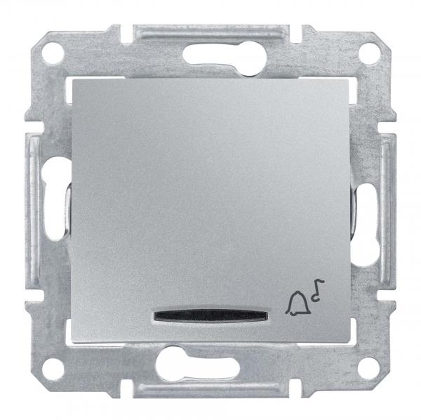 Фото Выключатель кнопочный SEDNA с символом звонок с син. подсв., 10а, 12в, алюминий {SDN1700160}
