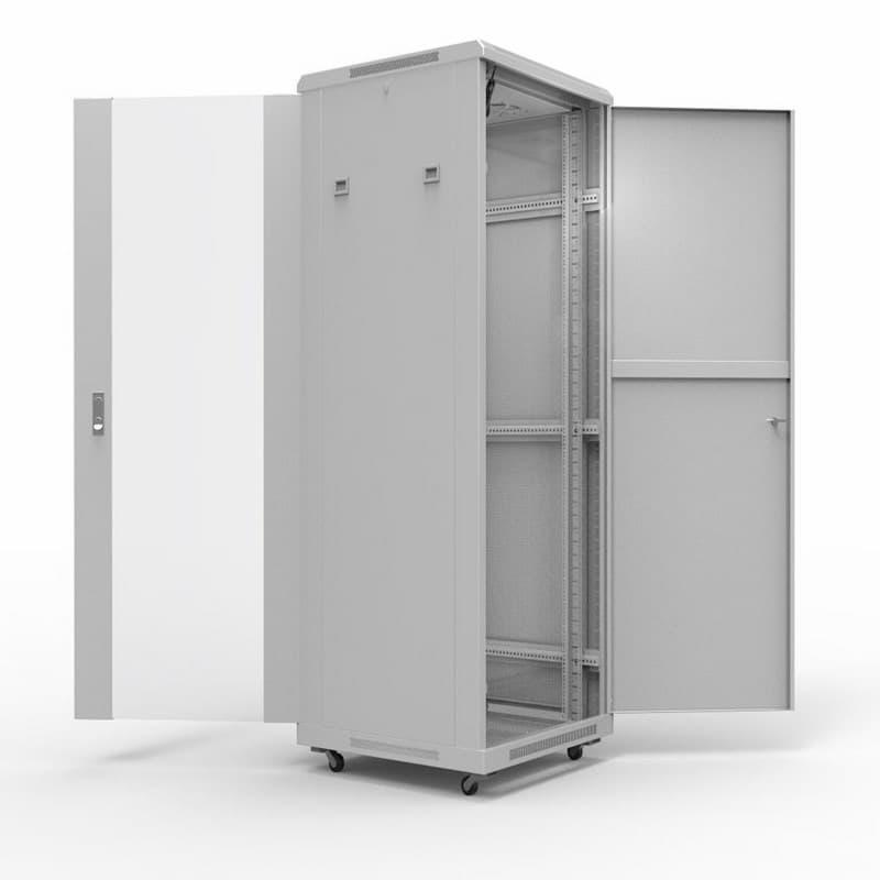 """Фото 19"""" Напольный шкаф Rexant серии Standart 42U 600х600 мм, передняя дверь стекло, задняя дверь металл {04-2305}"""