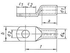 Фото Наконечник трубчатый медный облегченный стандарт Klauke 240 мм² под болт М10, исполнение с контрольным отверстием {klk12R10MS} (1)