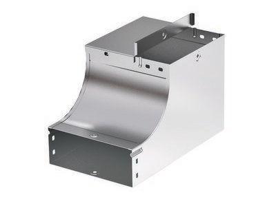 Фото Угол для лотка вертикальный внутренний прав. 90град. 400х50 CSSD 90 в комплекте с крепеж. элементами цинк-ламель DKC 37665KZL