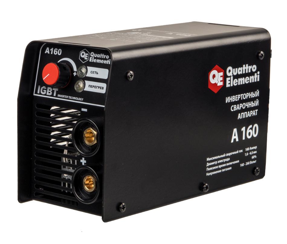 Фото Аппарат электродной сварки, инвертор Quattro Elementi A 160 (160 А, ПВ 60%, до 4.0 мм, 2.9 кг, 160-240 В) {248-511}