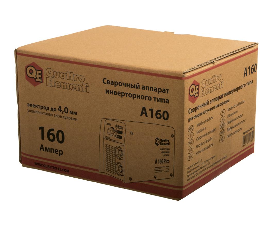 Фото Аппарат электродной сварки, инвертор Quattro Elementi A 160 (160 А, ПВ 60%, до 4.0 мм, 2.9 кг, 160-240 В) {248-511} (9)