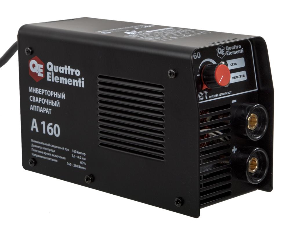 Фото Аппарат электродной сварки, инвертор Quattro Elementi A 160 (160 А, ПВ 60%, до 4.0 мм, 2.9 кг, 160-240 В) {248-511} (1)