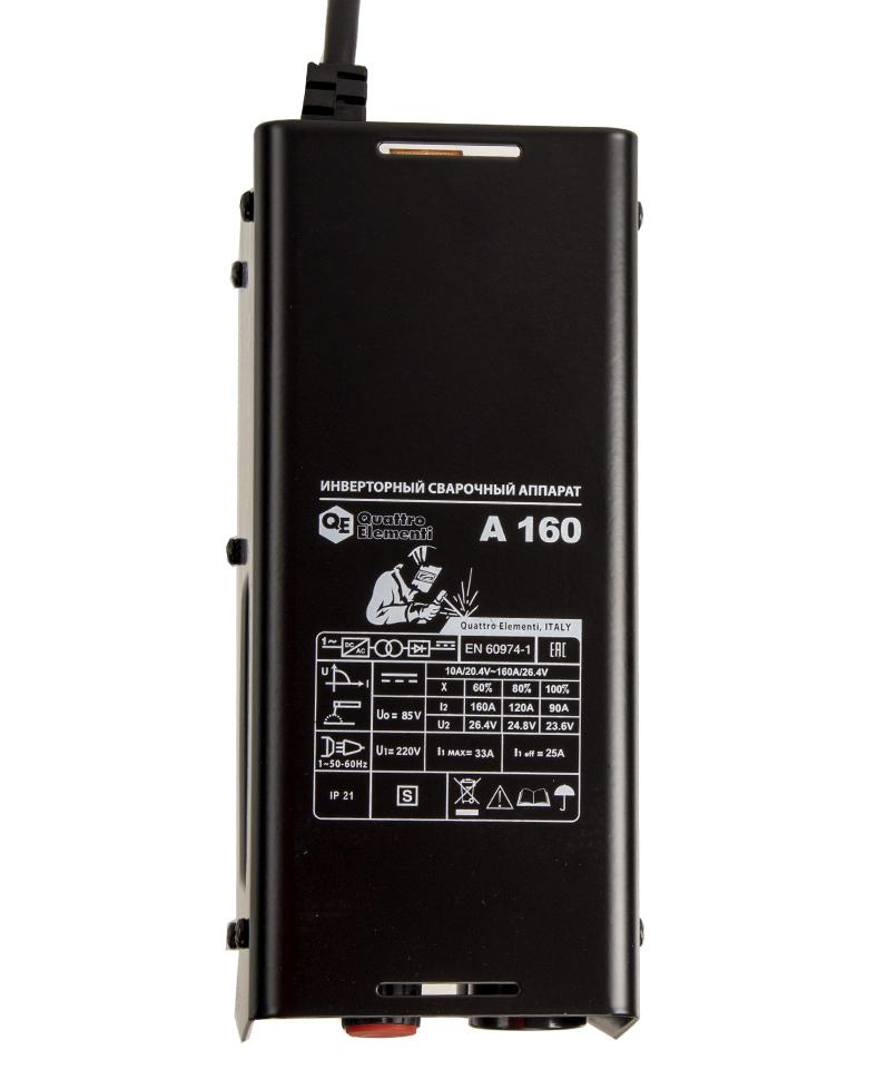 Фото Аппарат электродной сварки, инвертор Quattro Elementi A 160 (160 А, ПВ 60%, до 4.0 мм, 2.9 кг, 160-240 В) {248-511} (2)