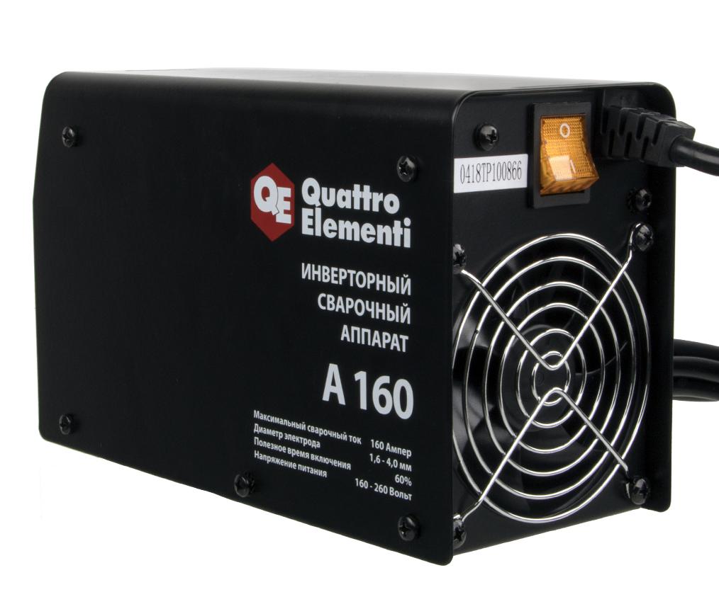 Фото Аппарат электродной сварки, инвертор Quattro Elementi A 160 (160 А, ПВ 60%, до 4.0 мм, 2.9 кг, 160-240 В) {248-511} (4)