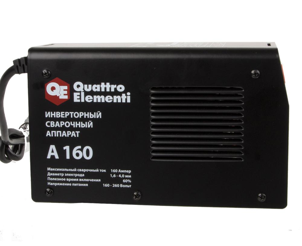 Фото Аппарат электродной сварки, инвертор Quattro Elementi A 160 (160 А, ПВ 60%, до 4.0 мм, 2.9 кг, 160-240 В) {248-511} (5)