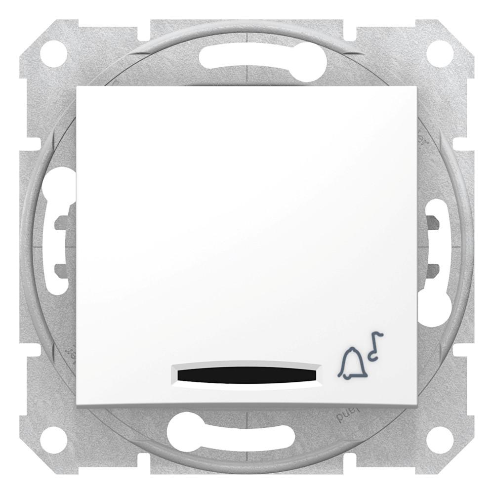 Фото Выключатель кнопочный SEDNA с симв. звонок с подсв., сх.1, 10а, 250в, IP44, белый {SDN1600421}