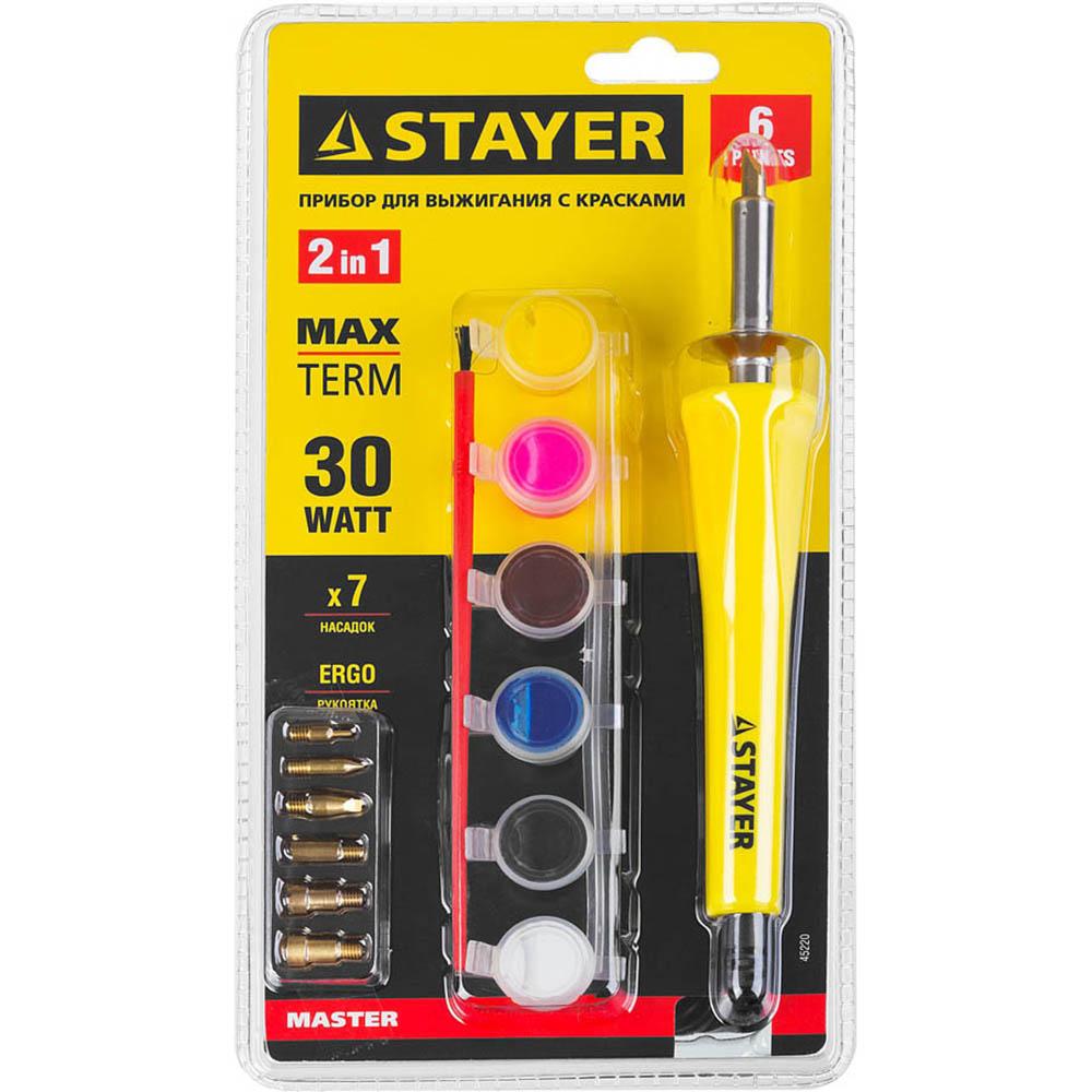 """Фото Прибор STAYER """"MASTER"""" для выжигания с набором насадок 7шт и красками {45220} (4)"""
