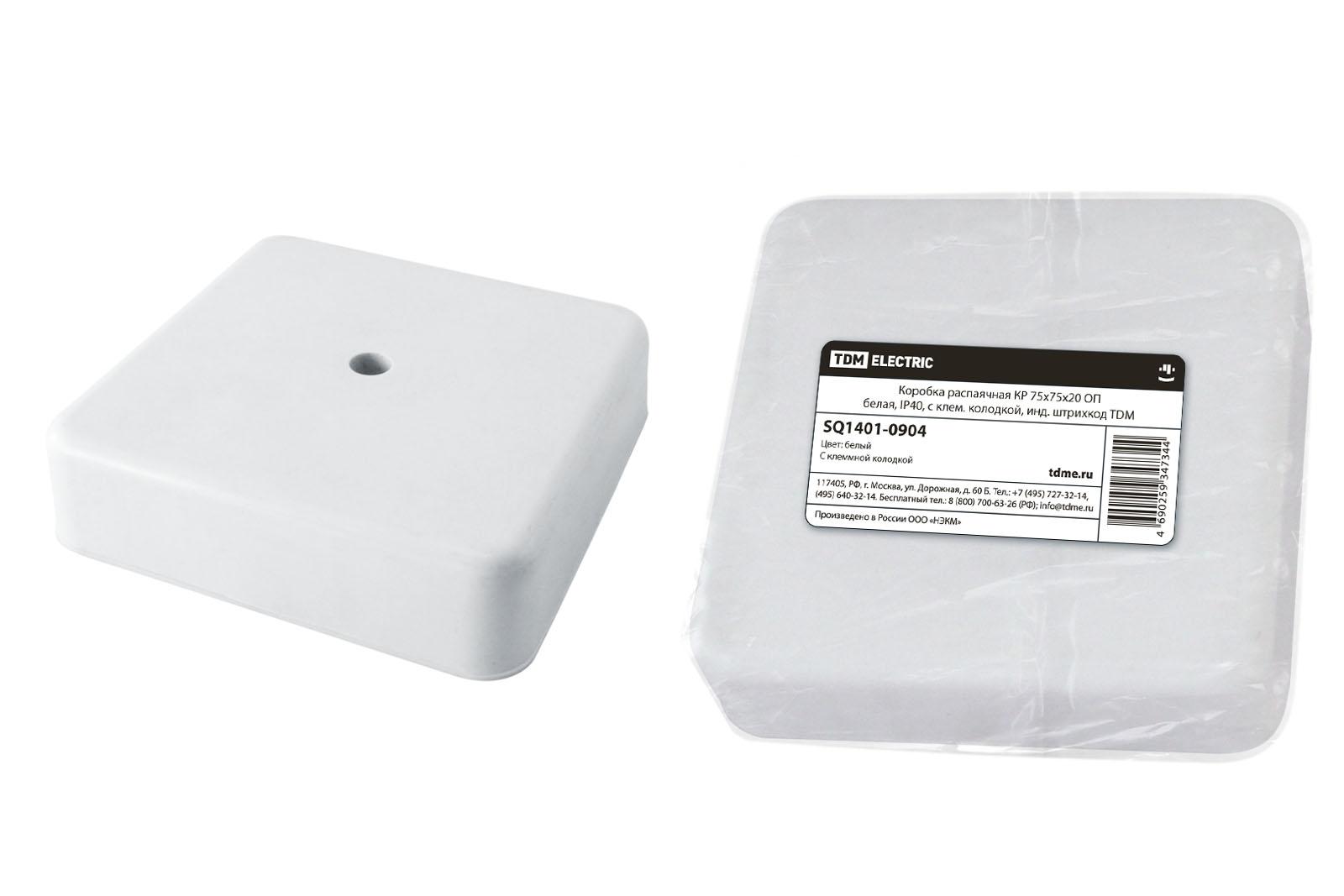 Фото Коробка распаячная КР 75х75х20 ОП белая, IP40, с клем. колодкой, инд. штрихкод TDM {SQ1401-0904}