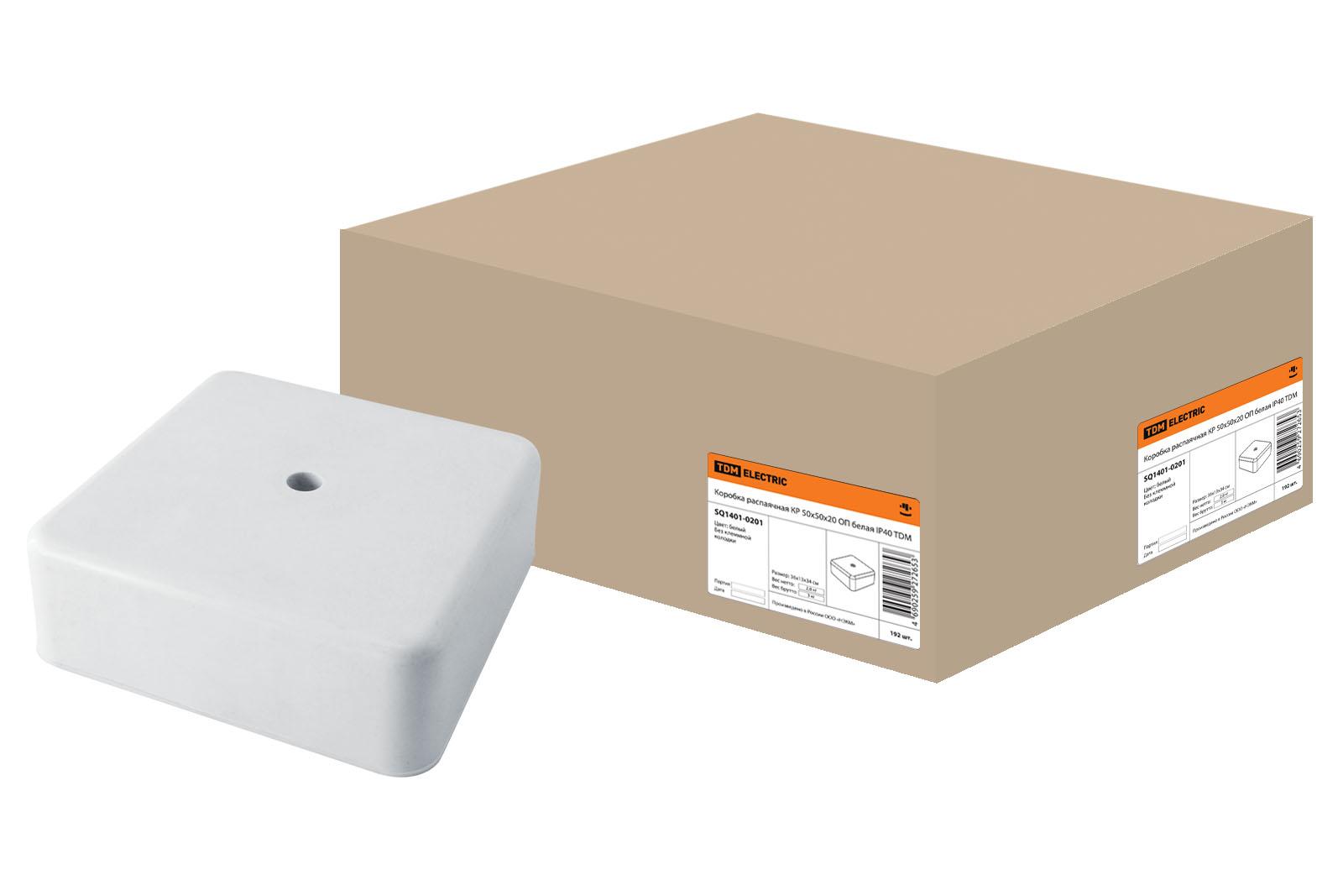 Фото Коробка распаячная КР 50х50х20 ОП белая IP40 TDM {SQ1401-0201}