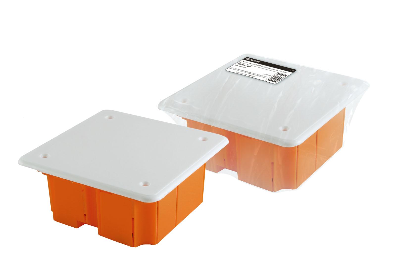 Фото Распаячная коробка СП 92х92х40мм, крышка, IP20, инд. штрихкод, TDM {SQ1402-1001}